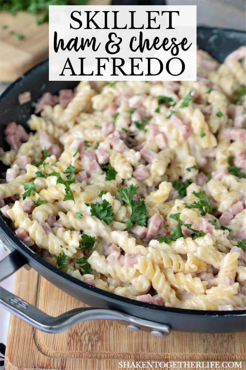 Skillet Ham & Cheese Alfredo is another quick dinner idea for those busy week nights!