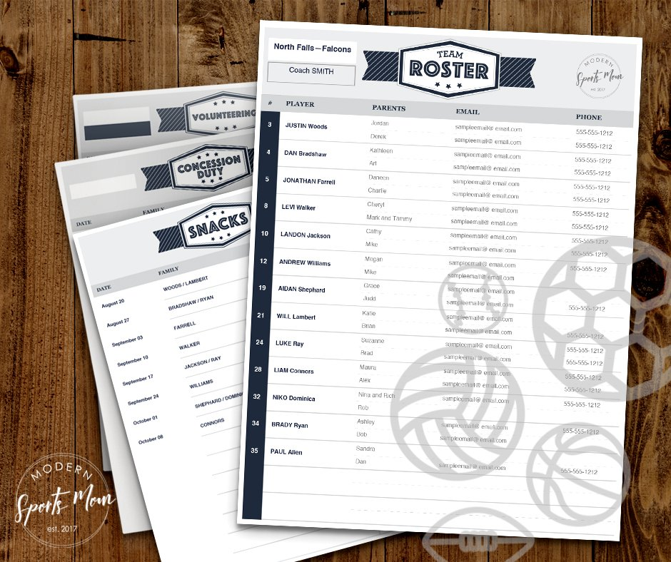 Free Printables for Sports Teams