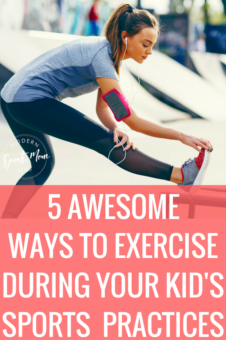 5 Ways to Exercise During Your Kid's Practice-Whether you stay at home, or work all day, getting exercise in as a mom can be tough! Sports moms have even less time to incorporate a healthy living routine. If you're stuck at our kid's sports practices several times a week, take full advantage of the time! These work out tips can help you find your motivation!