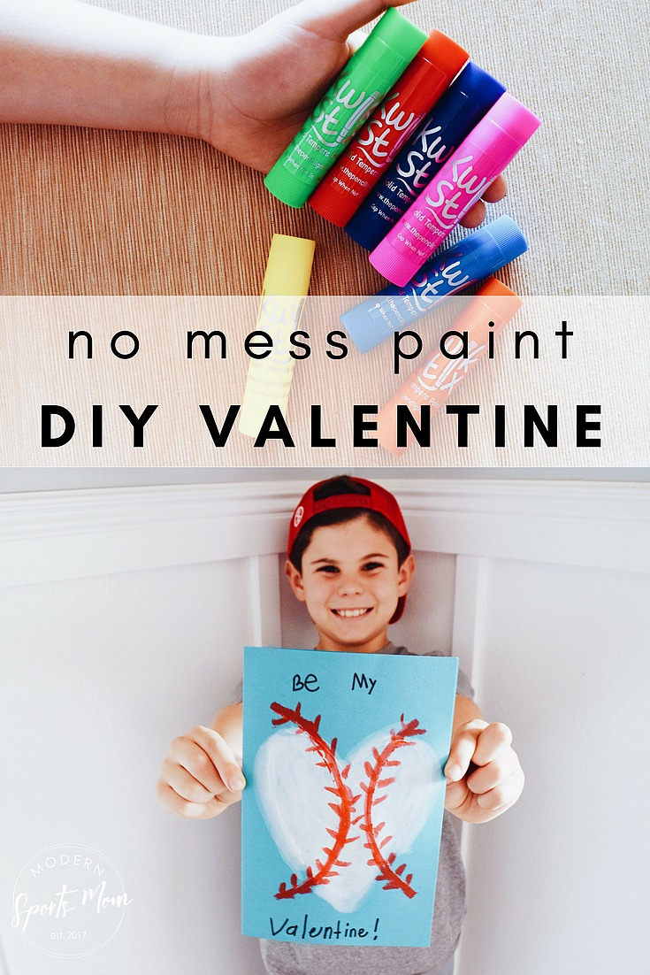 Baseball Valentine- We made these easy Baseball Valentines with Kwik Stix tempera paint. They are a great no mess way to make crafts for kids. Super fun, and did I mention they are mess free?