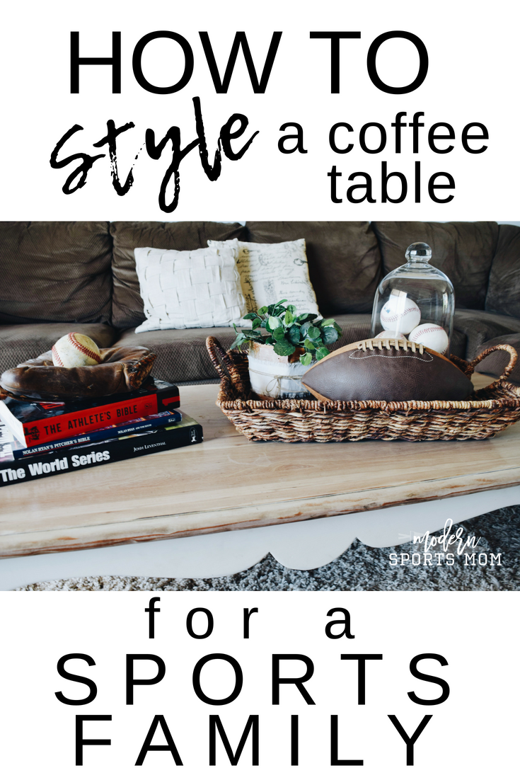 Coffee Tables center the room and can get lots of use from active families. There is no reason why they can't offer style and function though. These tips on how to style a coffee table for a sports family are great for an aesthetically pleasing but functional coffee table that your sports family will love! #coffeetable #interiordesign #sportsfamily #vintagesports