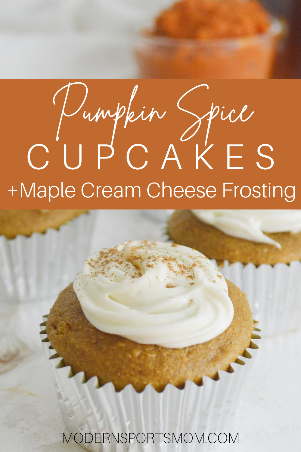 Pumpkin Spice Cupcakes with Maple Cream Cheese Frosting, easy to make with cake mix!