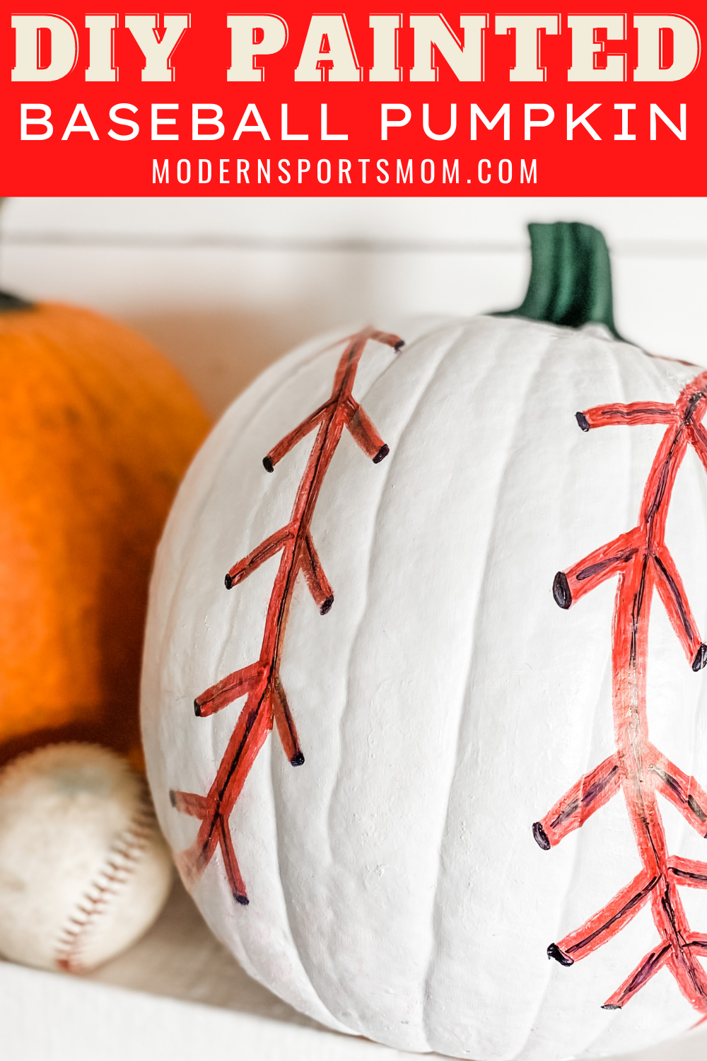 An easy alternative to carving, painting a pumpkin can be so fun and the possibilities are endless! This easy DIY Painted Baseball Pumpkin came together quickly and it's the perfect addition to our Halloween decor, especially as sports fans!